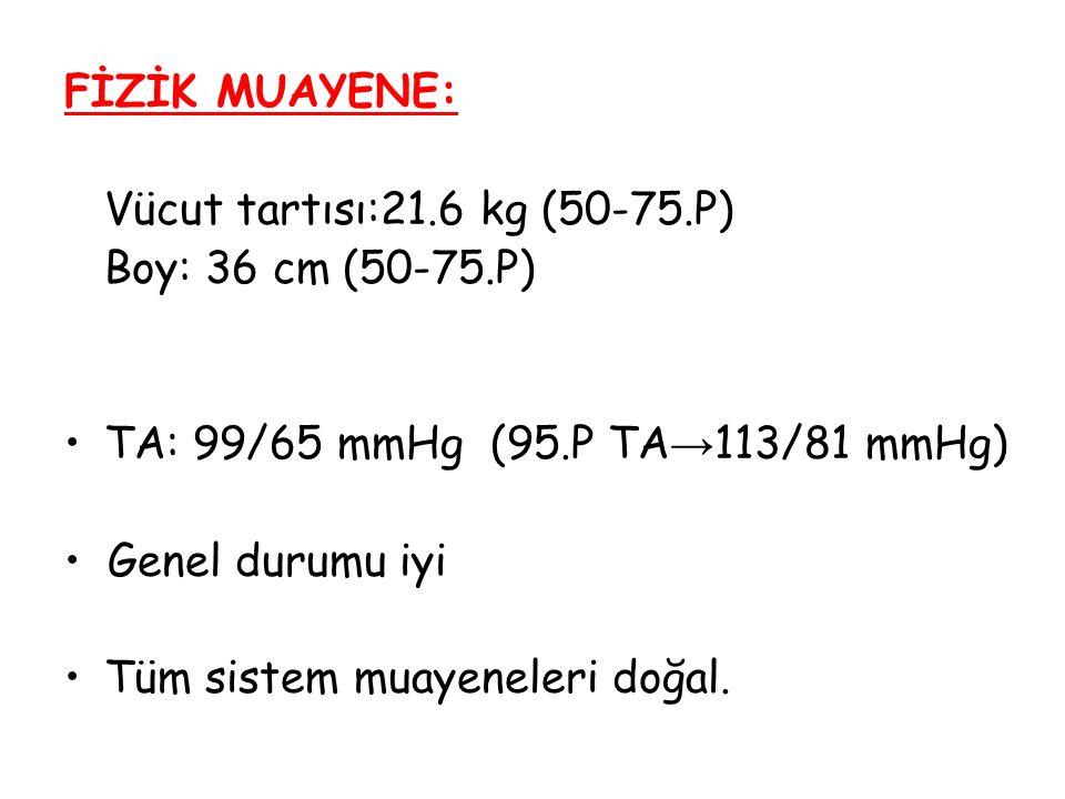 FİZİK MUAYENE: Vücut tartısı:21.6 kg (50-75.P) Boy: 36 cm (50-75.P) TA: 99/65 mmHg (95.P TA→113/81 mmHg)