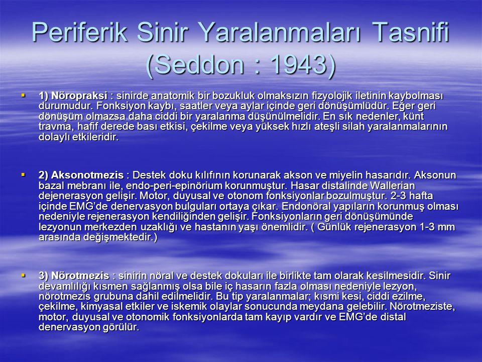 Periferik Sinir Yaralanmaları Tasnifi (Seddon : 1943)