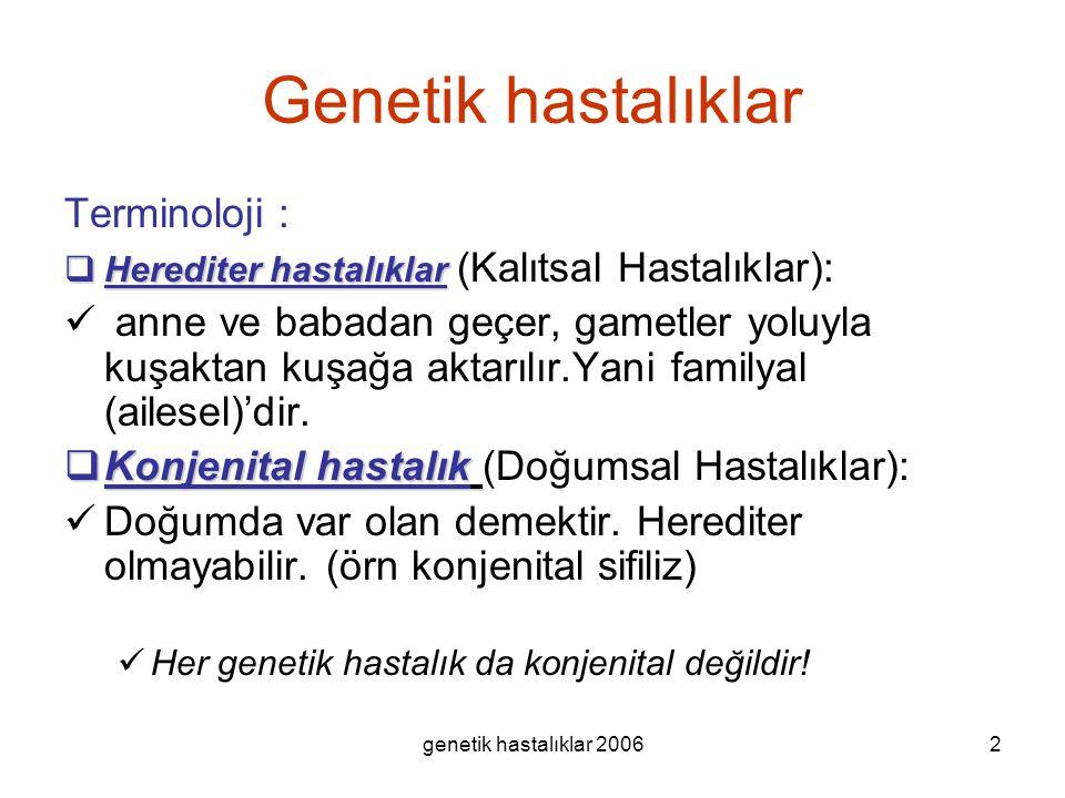 Genetik hastalıklar Terminoloji :