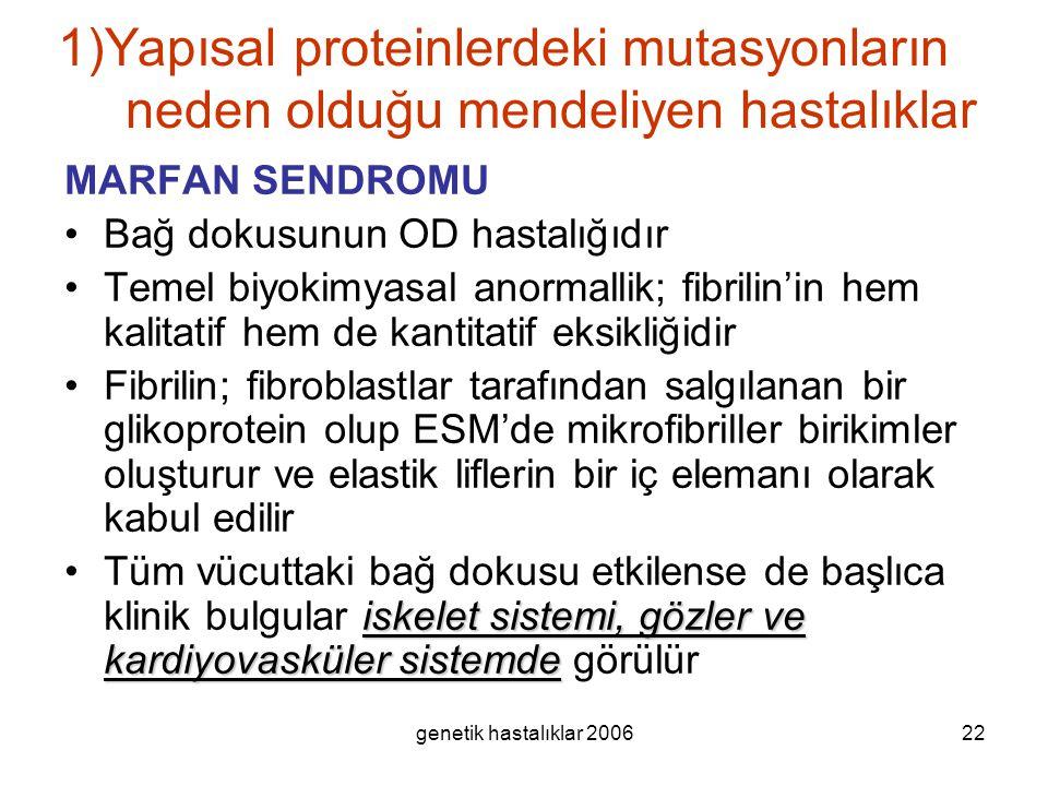 1)Yapısal proteinlerdeki mutasyonların neden olduğu mendeliyen hastalıklar