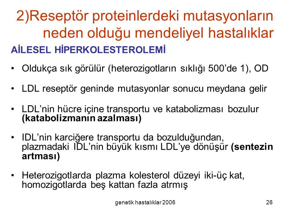 2)Reseptör proteinlerdeki mutasyonların neden olduğu mendeliyel hastalıklar