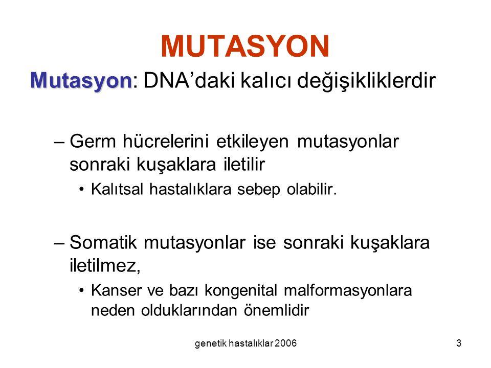 MUTASYON Mutasyon: DNA'daki kalıcı değişikliklerdir