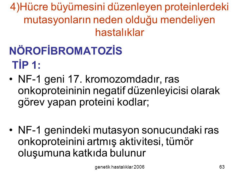 4)Hücre büyümesini düzenleyen proteinlerdeki mutasyonların neden olduğu mendeliyen hastalıklar