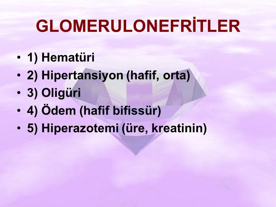 GLOMERULONEFRİTLER 1) Hematüri 2) Hipertansiyon (hafif, orta)