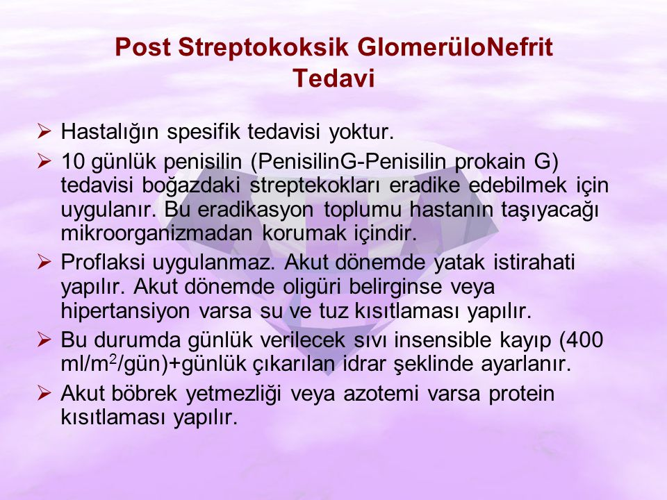 Post Streptokoksik GlomerüloNefrit Tedavi