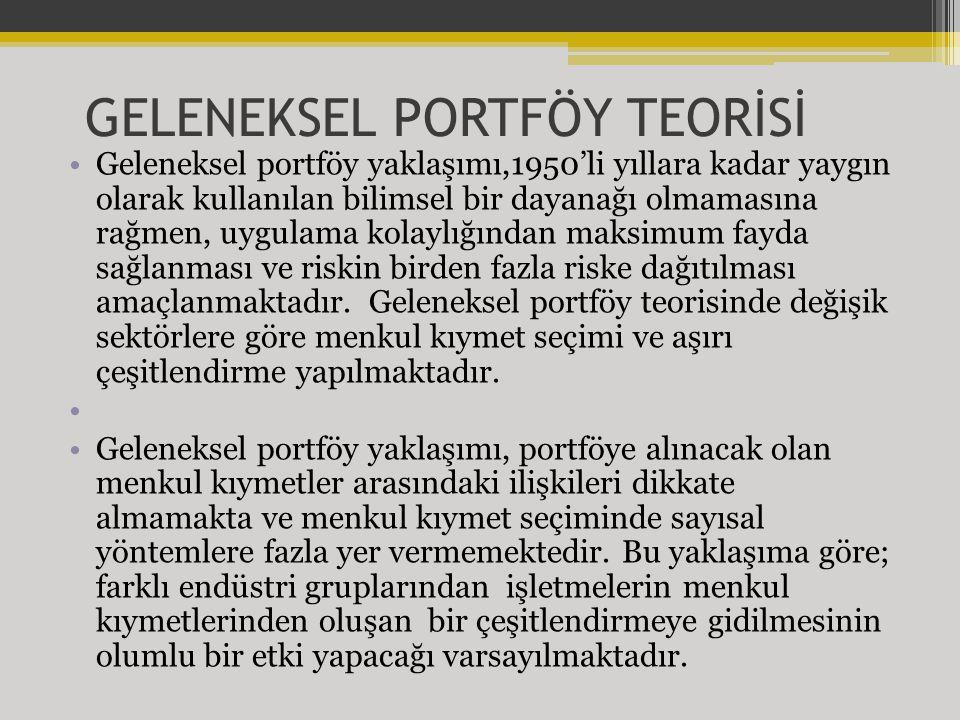 GELENEKSEL PORTFÖY TEORİSİ