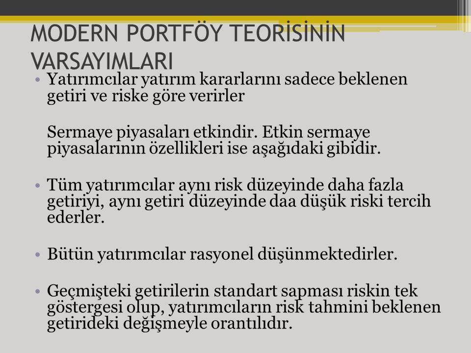 MODERN PORTFÖY TEORİSİNİN VARSAYIMLARI