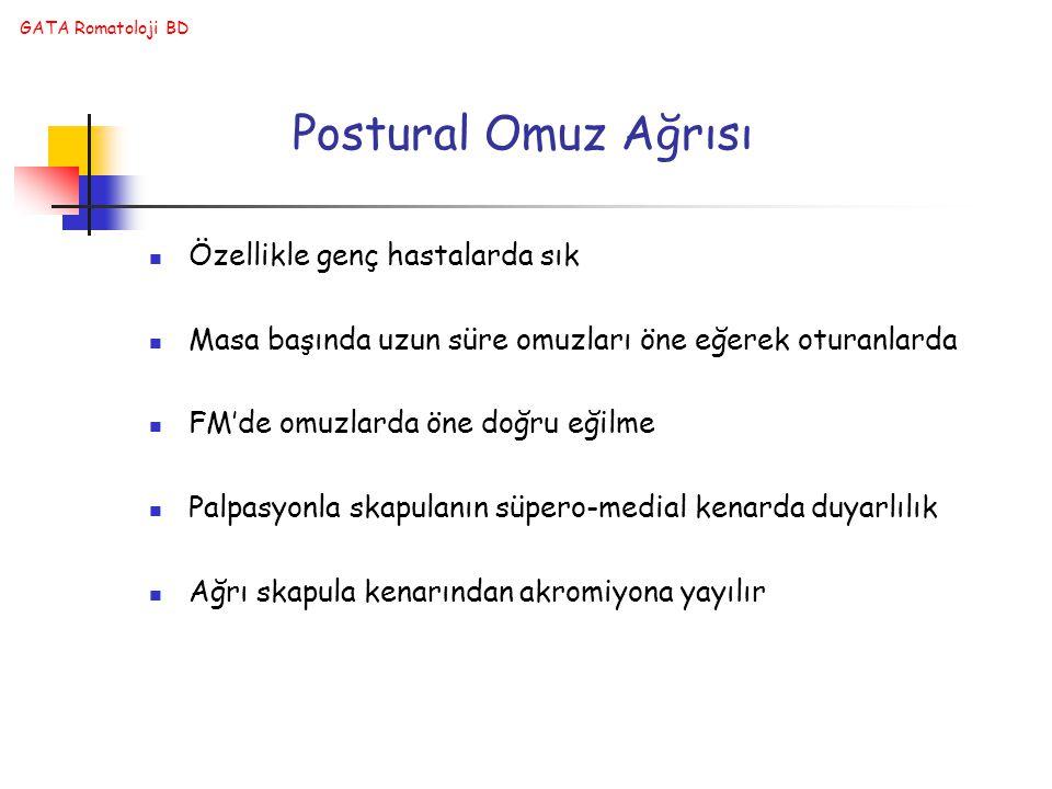 Postural Omuz Ağrısı Özellikle genç hastalarda sık
