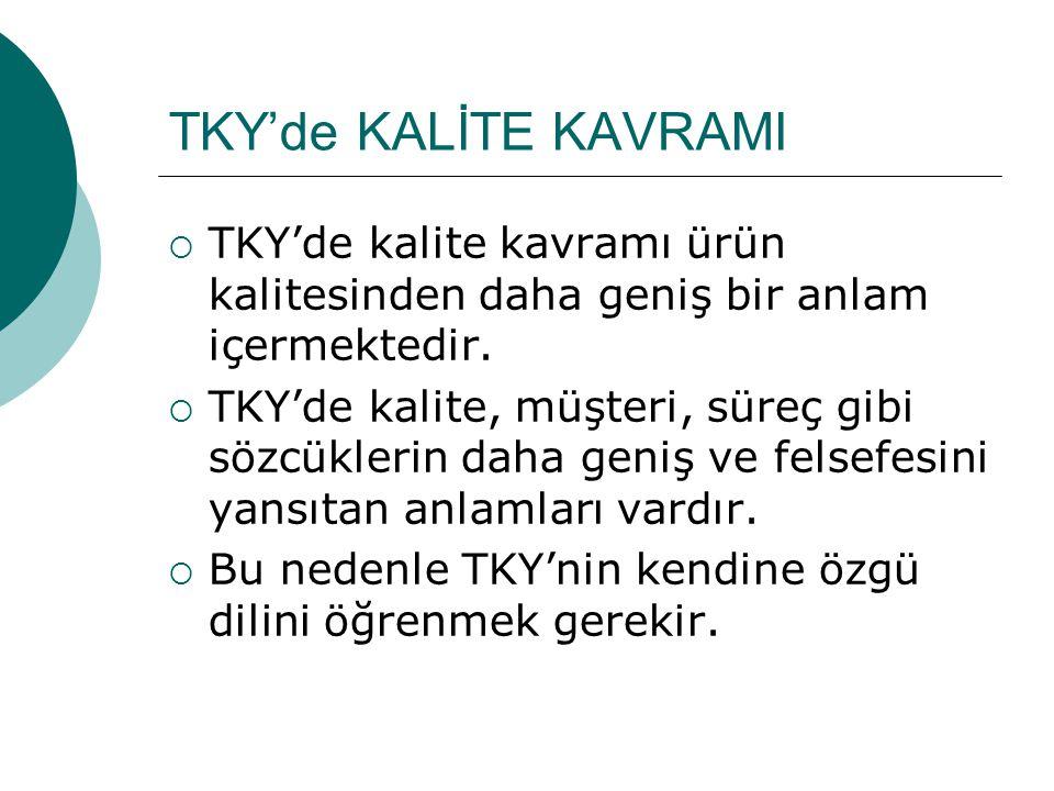 TKY'de KALİTE KAVRAMI TKY'de kalite kavramı ürün kalitesinden daha geniş bir anlam içermektedir.