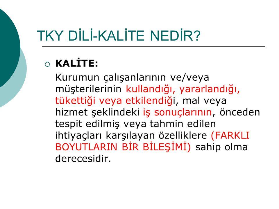 TKY DİLİ-KALİTE NEDİR KALİTE: