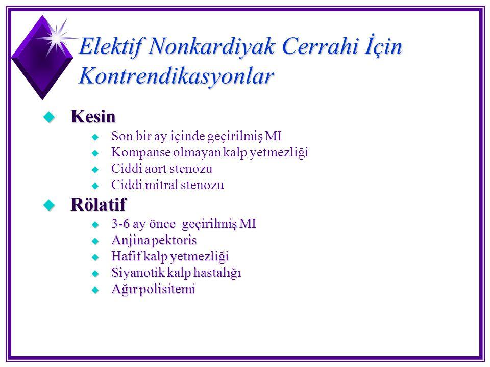 Elektif Nonkardiyak Cerrahi İçin Kontrendikasyonlar