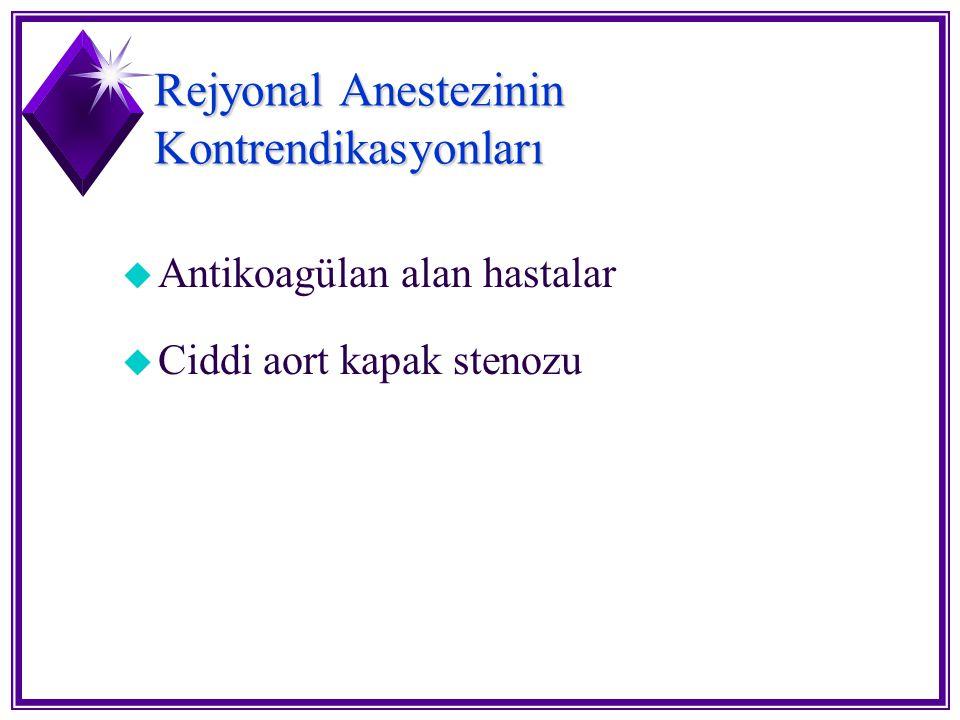 Rejyonal Anestezinin Kontrendikasyonları