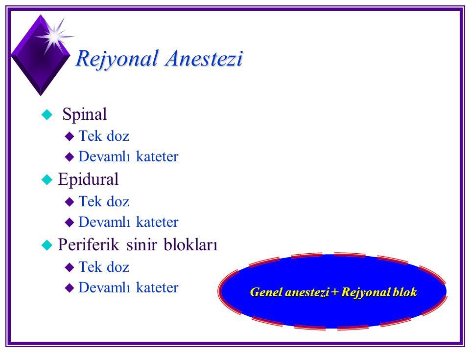 Genel anestezi + Rejyonal blok