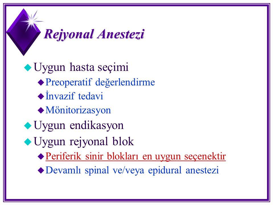 Rejyonal Anestezi Uygun hasta seçimi Uygun endikasyon