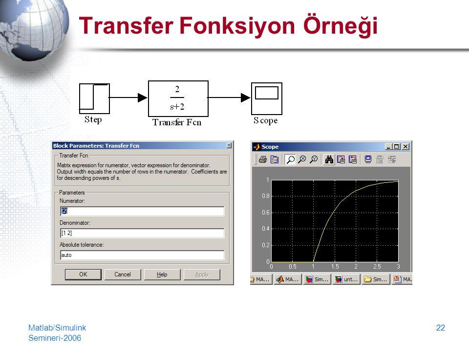 Transfer Fonksiyon Örneği