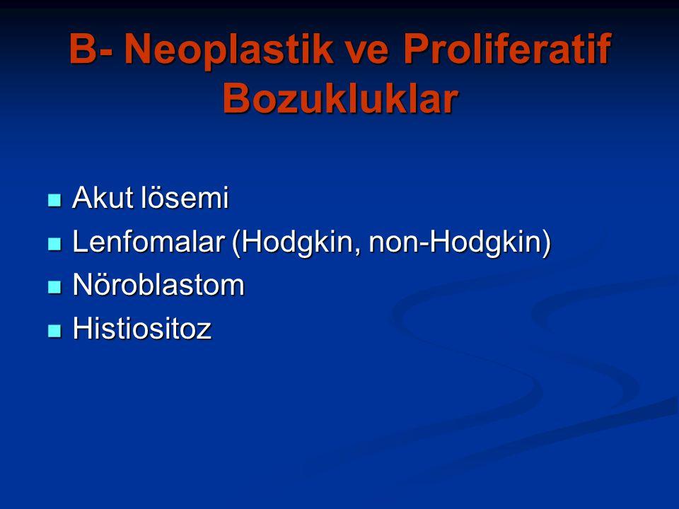 B- Neoplastik ve Proliferatif Bozukluklar