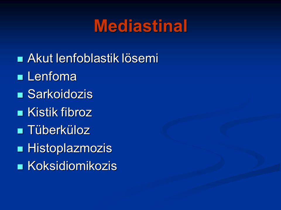 Mediastinal Akut lenfoblastik lösemi Lenfoma Sarkoidozis Kistik fibroz