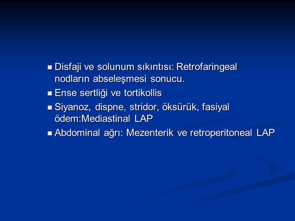 Disfaji ve solunum sıkıntısı: Retrofaringeal nodların abseleşmesi sonucu.