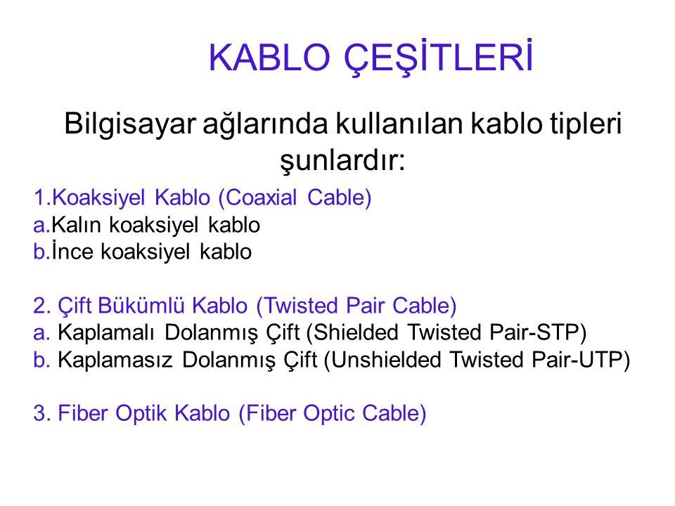 Bilgisayar ağlarında kullanılan kablo tipleri şunlardır: