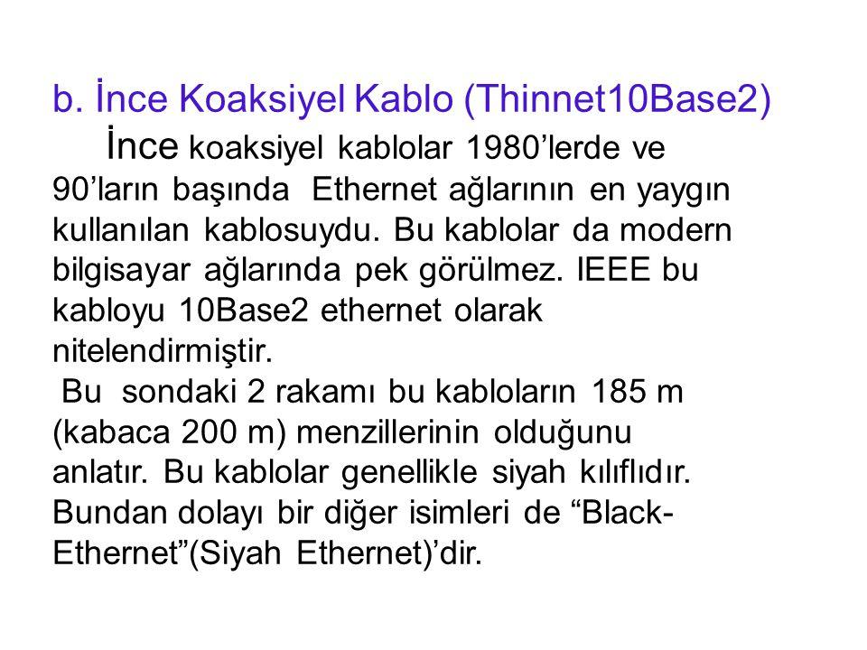 b. İnce Koaksiyel Kablo (Thinnet10Base2)