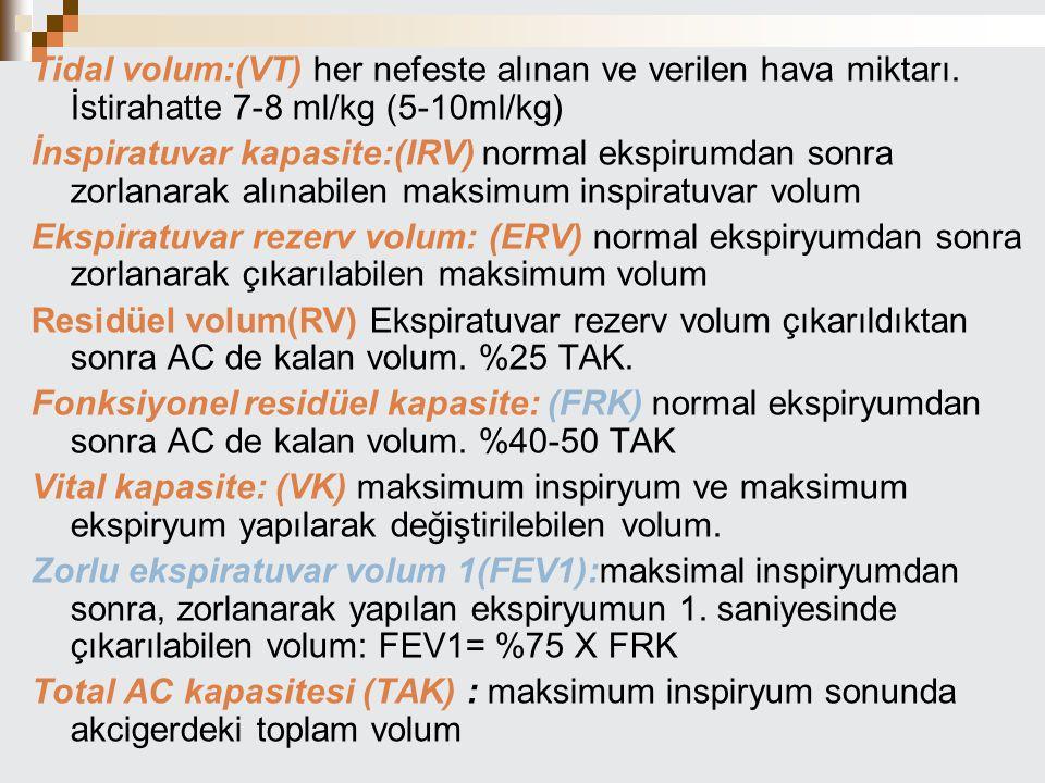 Tidal volum:(VT) her nefeste alınan ve verilen hava miktarı