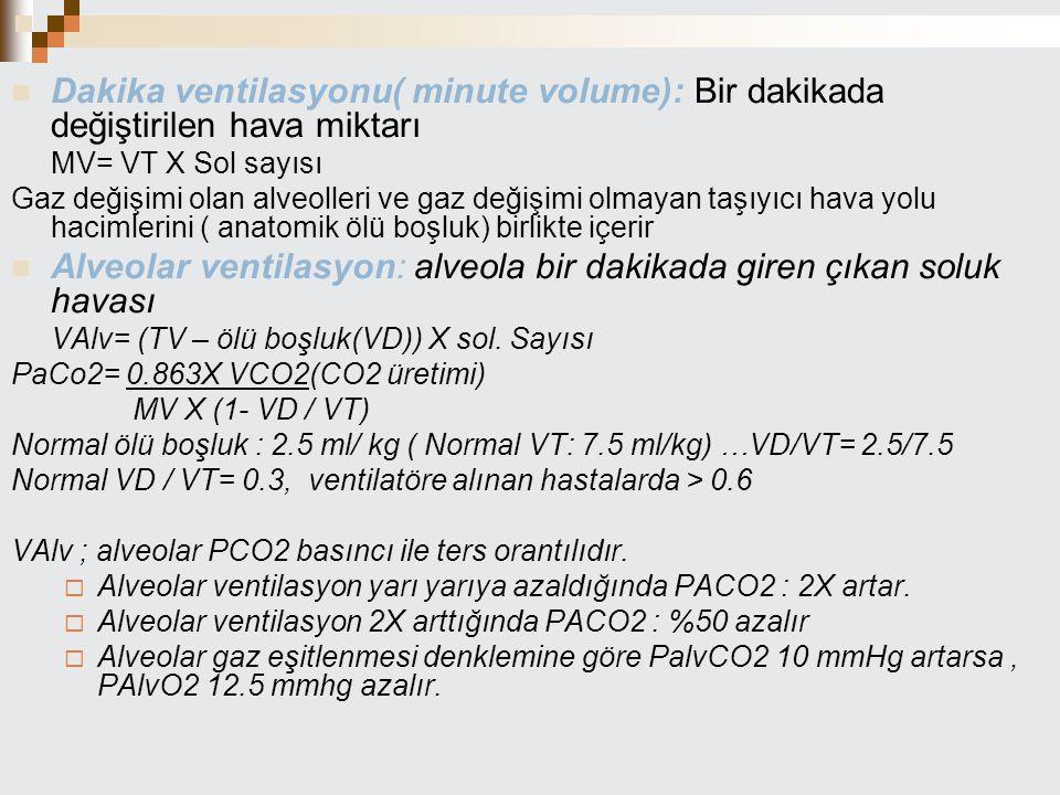 Alveolar ventilasyon: alveola bir dakikada giren çıkan soluk havası