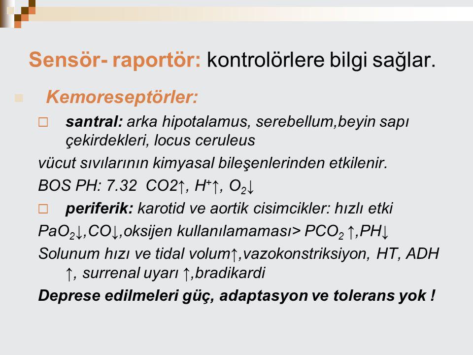 Sensör- raportör: kontrolörlere bilgi sağlar.