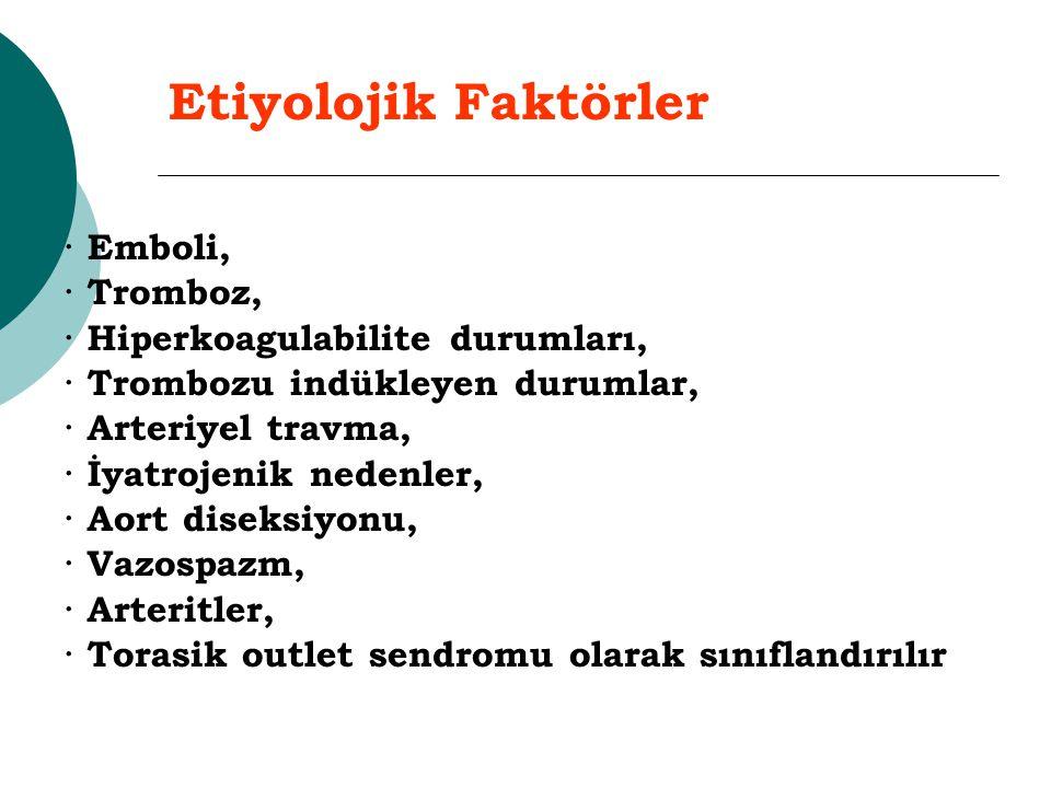 Etiyolojik Faktörler · Emboli, · Tromboz,