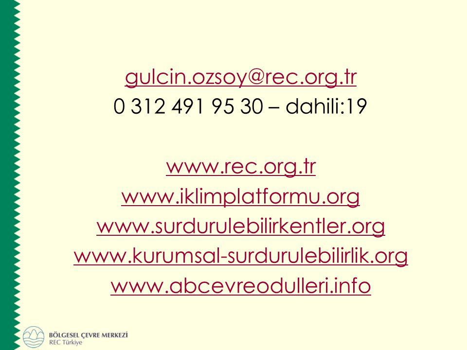 gulcin. ozsoy@rec. org. tr 0 312 491 95 30 – dahili:19 www. rec. org