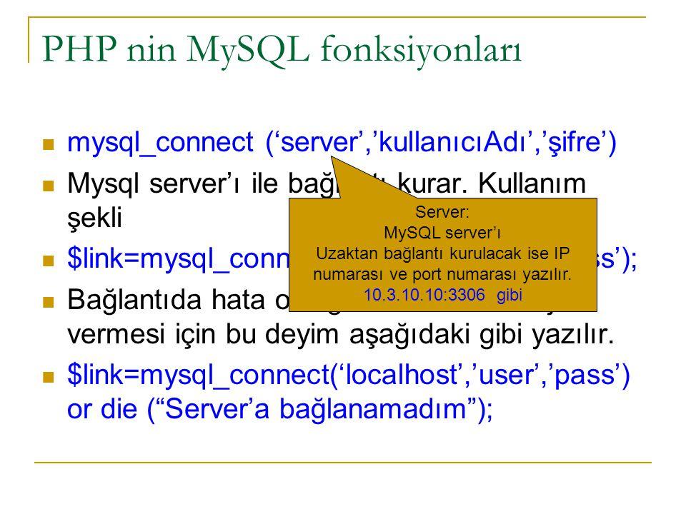 PHP nin MySQL fonksiyonları