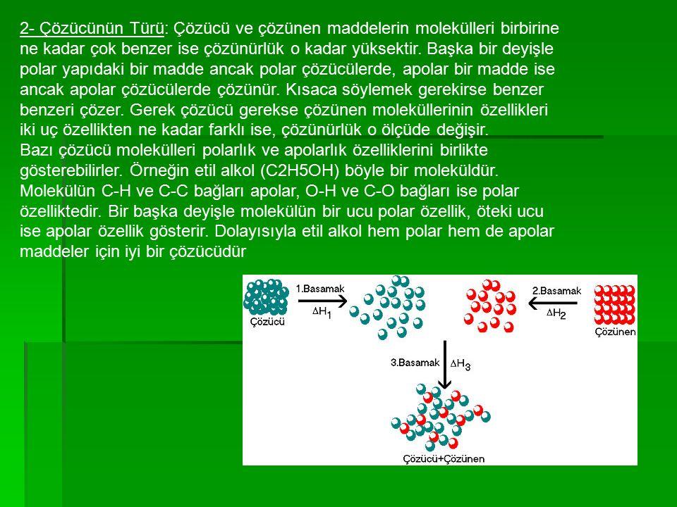 2- Çözücünün Türü: Çözücü ve çözünen maddelerin molekülleri birbirine ne kadar çok benzer ise çözünürlük o kadar yüksektir.