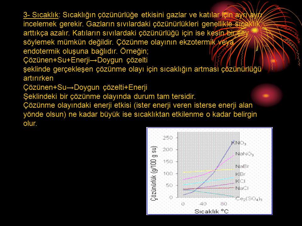 3- Sıcaklık: Sıcaklığın çözünürlüğe etkisini gazlar ve katılar için ayrı ayrı incelemek gerekir.