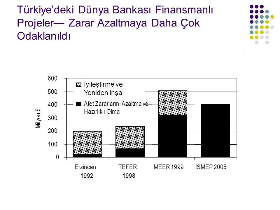 Türkiye'deki Dünya Bankası Finansmanlı Projeler— Zarar Azaltmaya Daha Çok Odaklanıldı