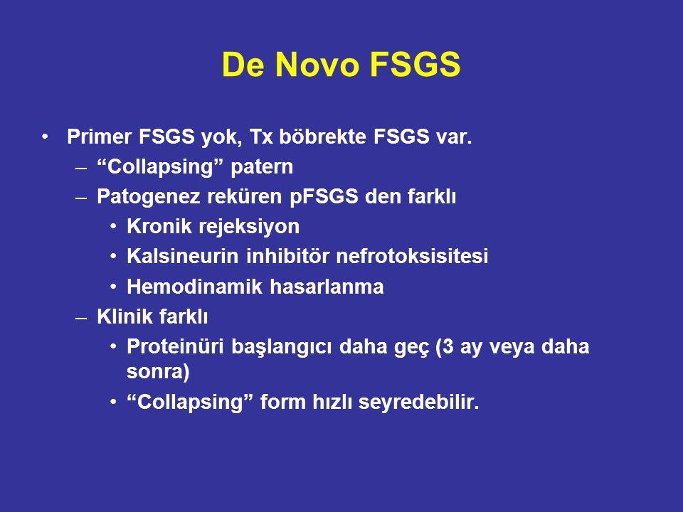 De Novo FSGS Primer FSGS yok, Tx böbrekte FSGS var.