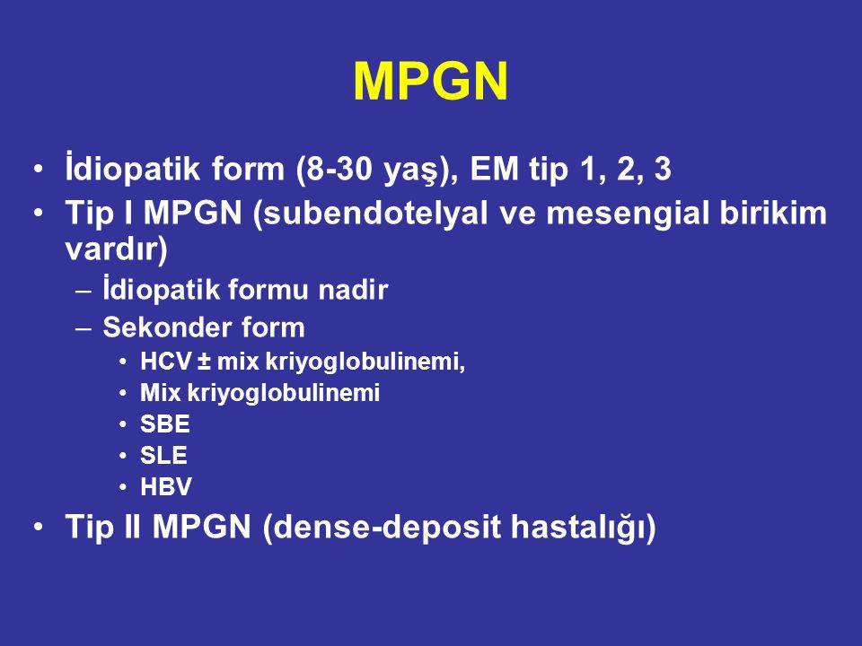 MPGN İdiopatik form (8-30 yaş), EM tip 1, 2, 3