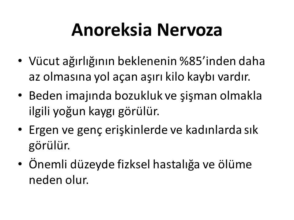 Anoreksia Nervoza Vücut ağırlığının beklenenin %85'inden daha az olmasına yol açan aşırı kilo kaybı vardır.