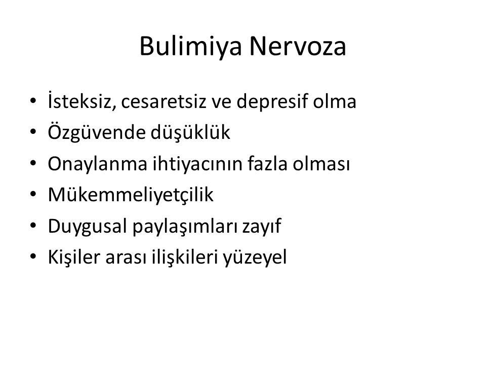 Bulimiya Nervoza İsteksiz, cesaretsiz ve depresif olma