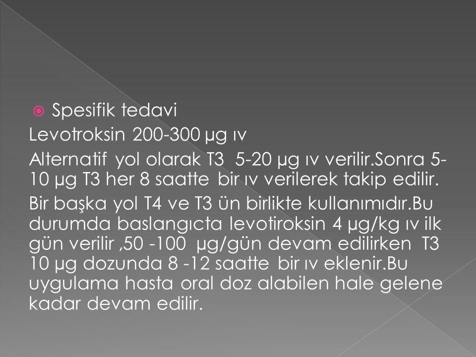 Spesifik tedavi Levotroksin 200-300 µg ıv.