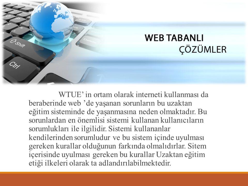 WTUE' in ortam olarak interneti kullanması da beraberinde web 'de yaşanan sorunların bu uzaktan eğitim sisteminde de yaşanmasına neden olmaktadır.