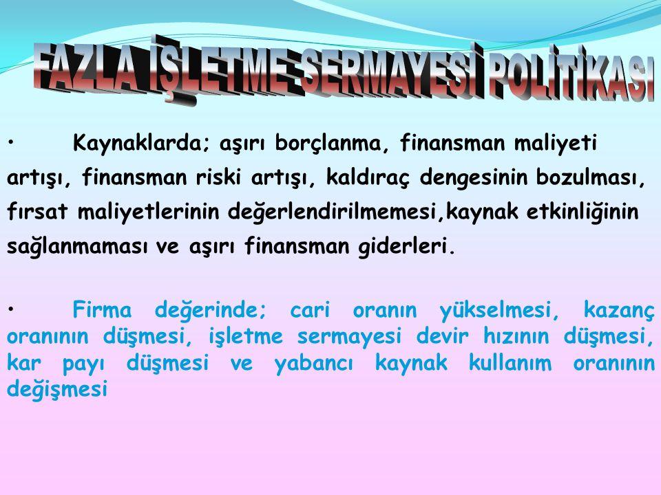 FAZLA İŞLETME SERMAYESİ POLİTİKASI
