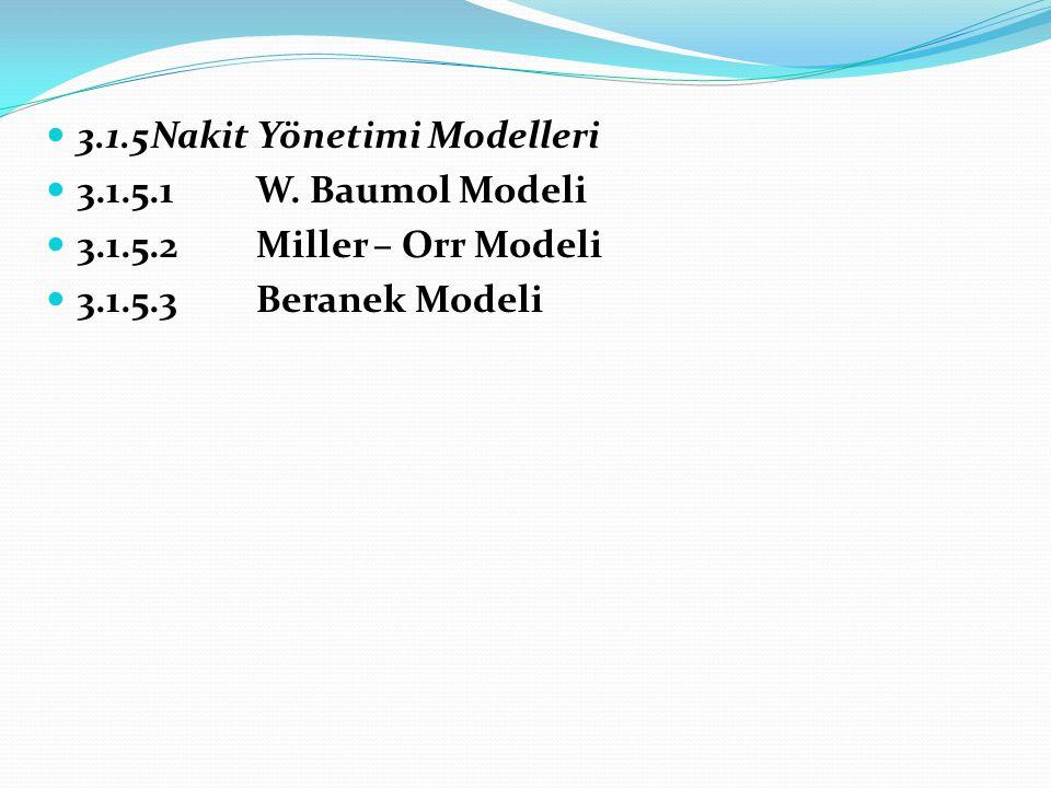 3.1.5 Nakit Yönetimi Modelleri