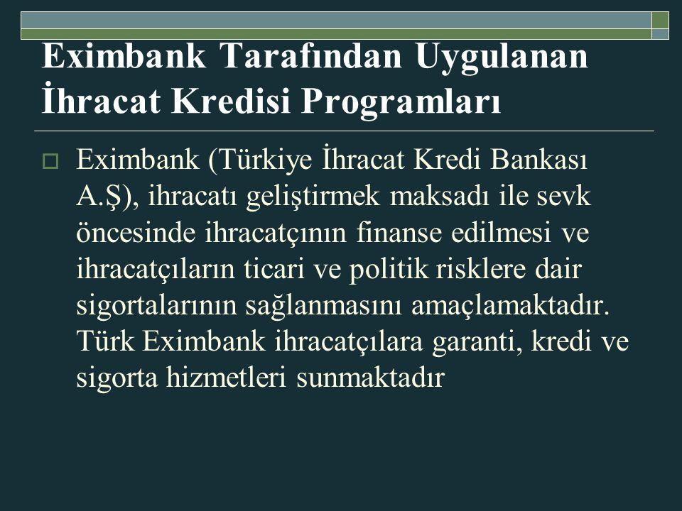 Eximbank Tarafından Uygulanan İhracat Kredisi Programları