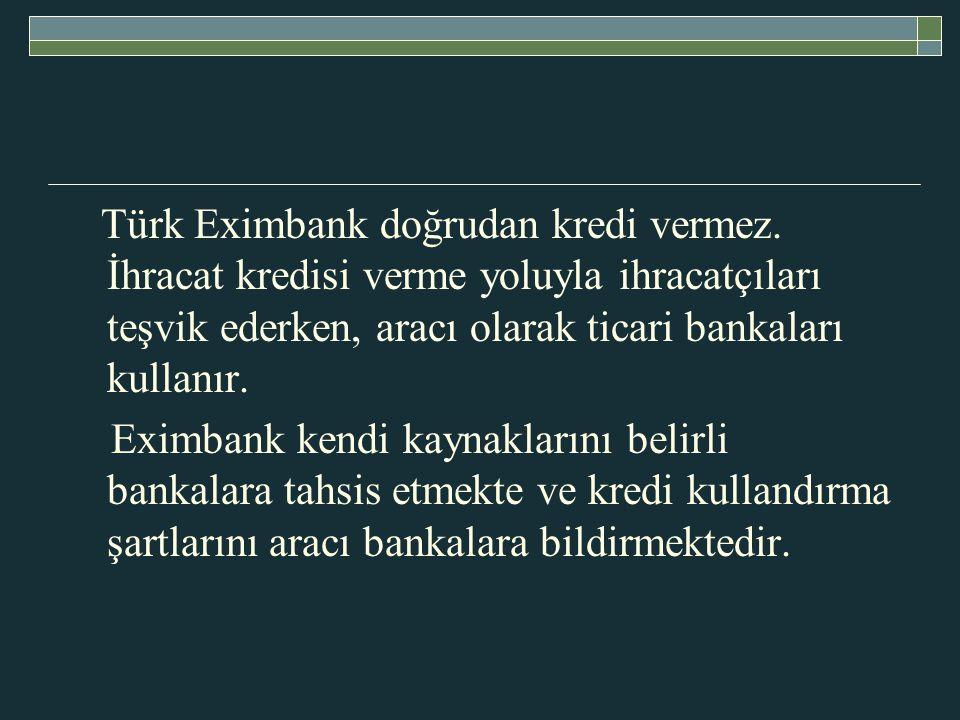 Türk Eximbank doğrudan kredi vermez