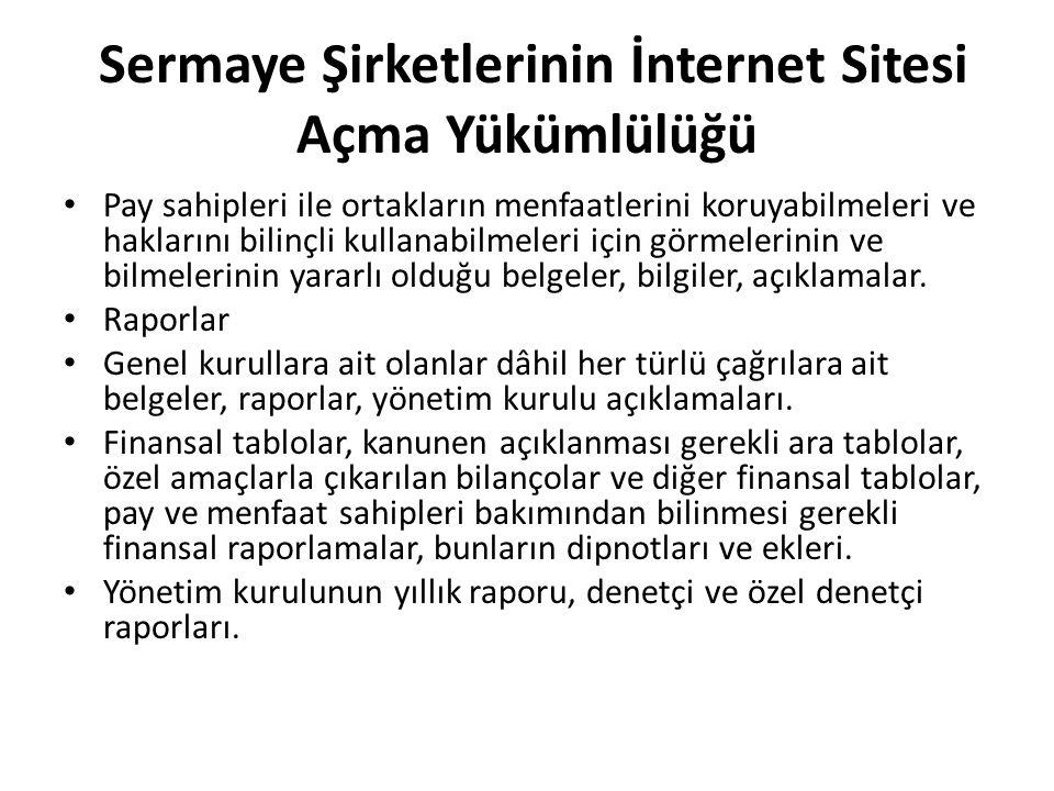 Sermaye Şirketlerinin İnternet Sitesi Açma Yükümlülüğü
