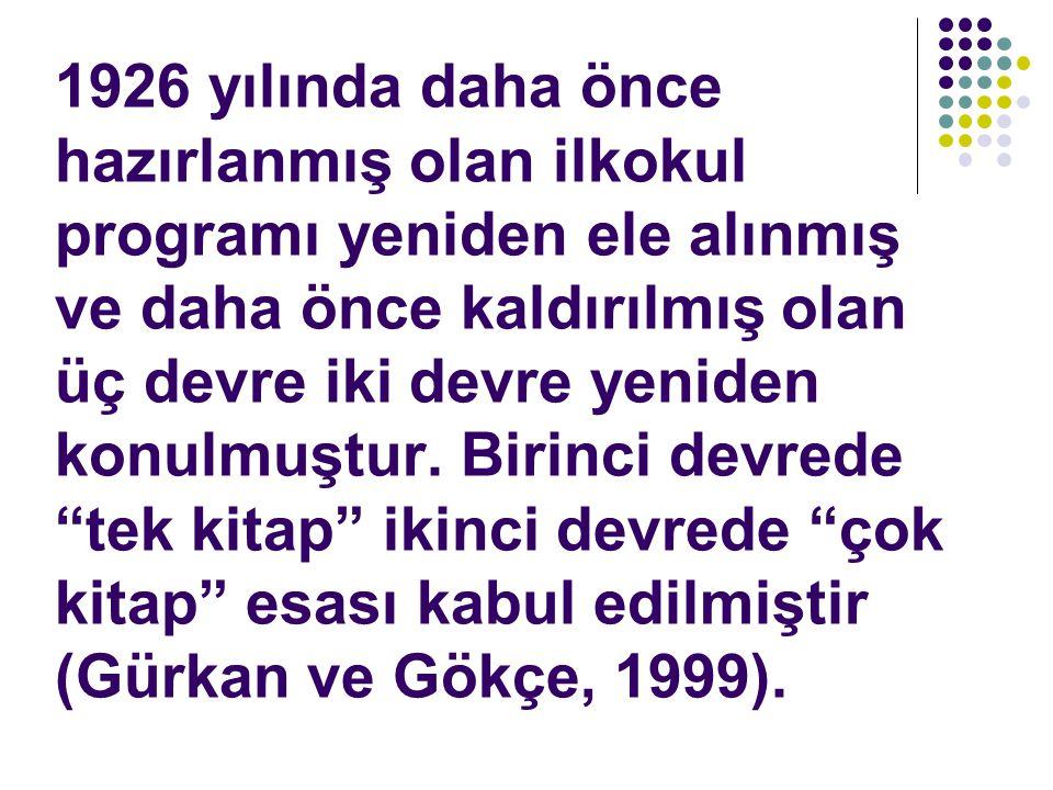 1926 yılında daha önce hazırlanmış olan ilkokul programı yeniden ele alınmış ve daha önce kaldırılmış olan üç devre iki devre yeniden konulmuştur.