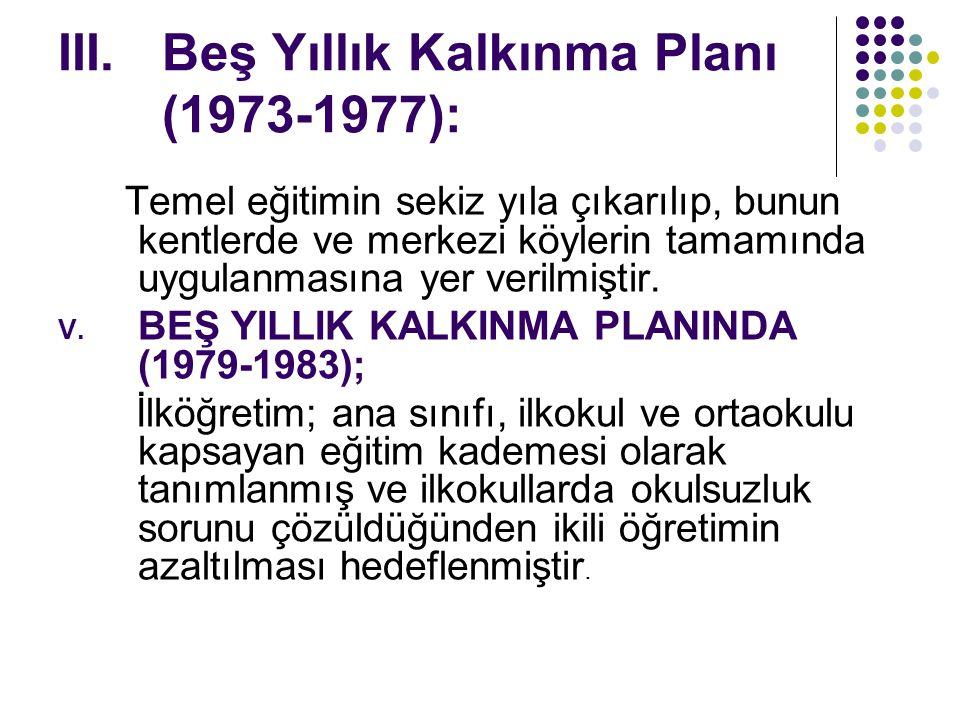 Beş Yıllık Kalkınma Planı (1973-1977):
