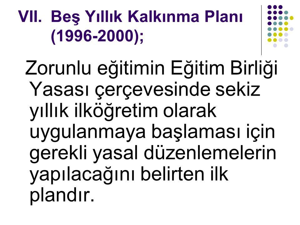 Beş Yıllık Kalkınma Planı (1996-2000);