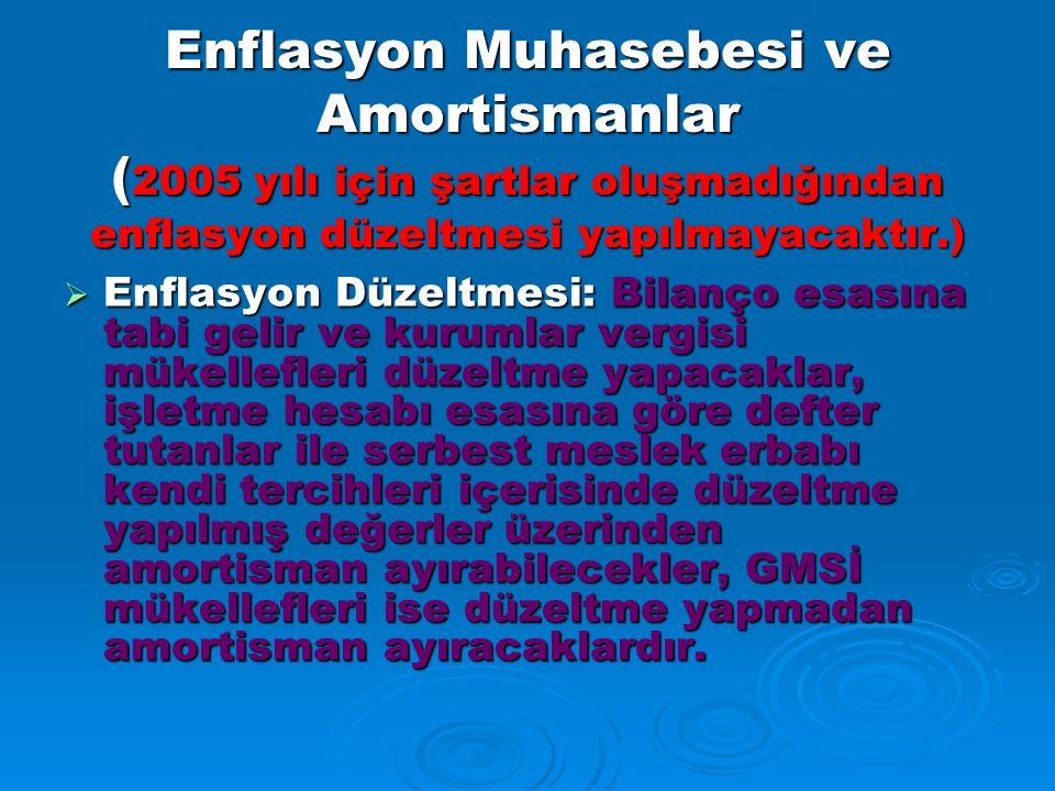 Enflasyon Muhasebesi ve Amortismanlar (2005 yılı için şartlar oluşmadığından enflasyon düzeltmesi yapılmayacaktır.)