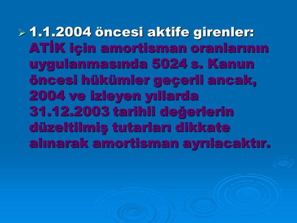 1.1.2004 öncesi aktife girenler: ATİK için amortisman oranlarının uygulanmasında 5024 s.