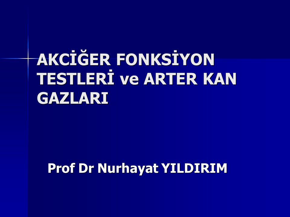 AKCİĞER FONKSİYON TESTLERİ ve ARTER KAN GAZLARI